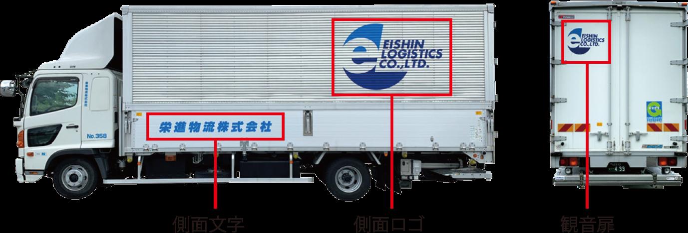 栄進物流トラックでのロゴサイズによる面積算出